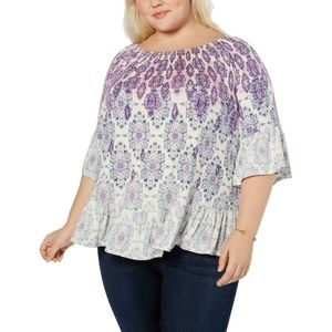 Style & Co Plus Size Ivory Printed Casual Blouse